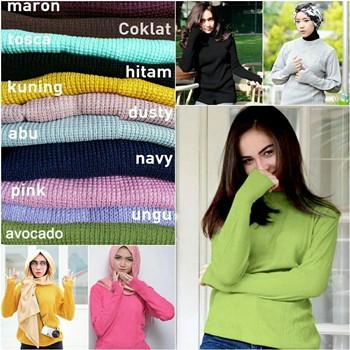 Baju Rajut Lengan Panjang Wanita Roundhand Sweater Rajut Atasan Muslim Wanita Lengan Bolong Shopee Indonesia