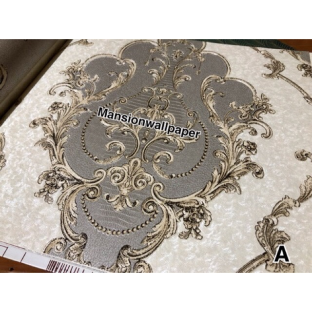 Wallpaper Dinding Klasik Soft Silver Hitam Merah Elegan Mewah Shopee Indonesia