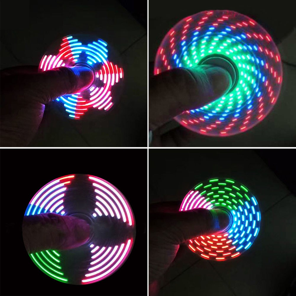 Led Hand Spinner Tri Fidget Finger Spinner Edc Spin Stress Focus Desk Toy