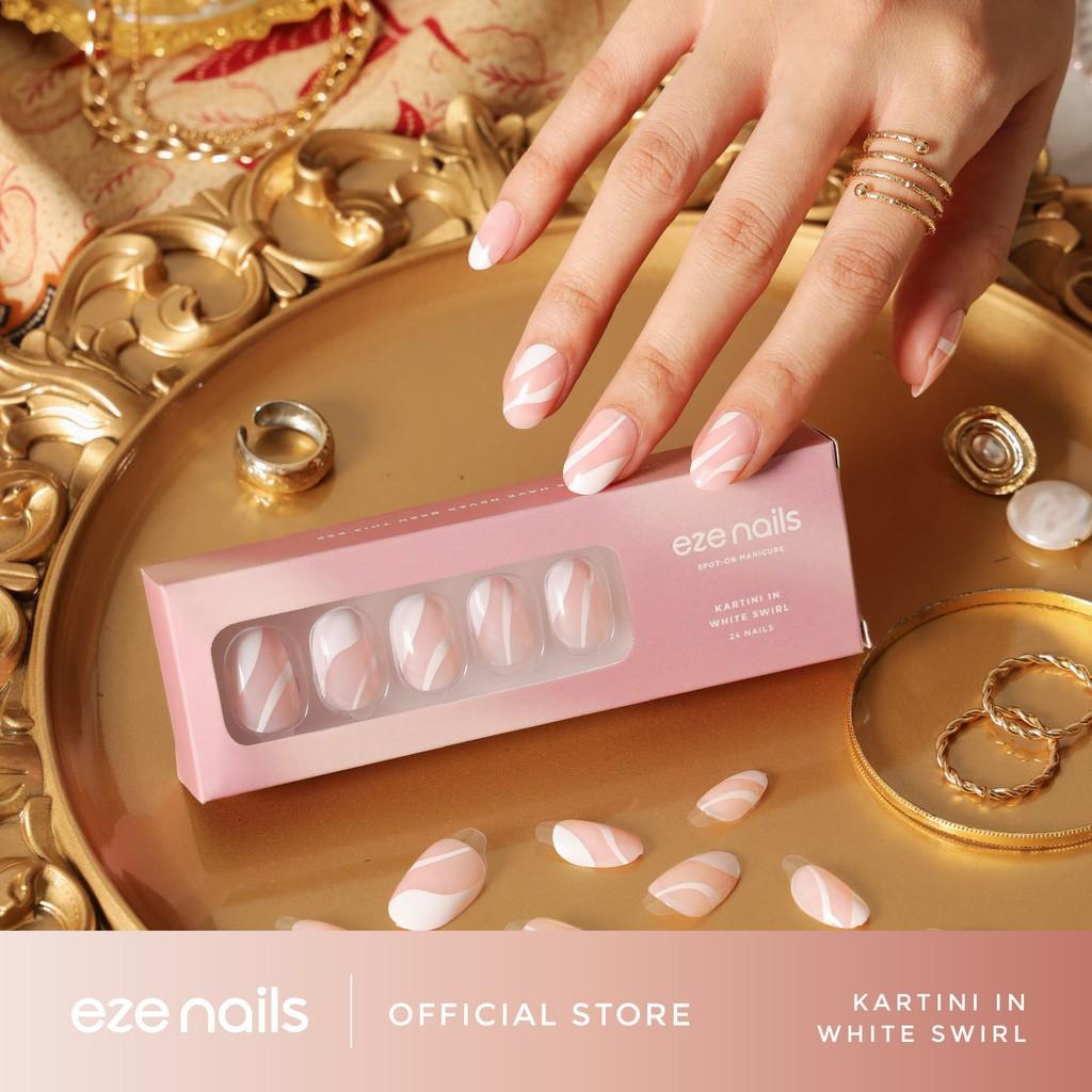 Kartini in White Swirl – Eze Nails Spot On Manicure