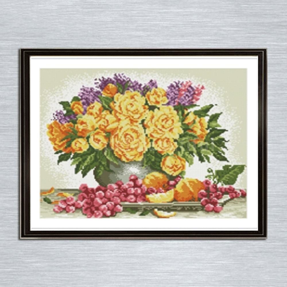 DIY Lukisan Diamond 5D Dengan Gambar Vas Bunga Dan Bulat Untuk Hiasan Dekorasi Rumah