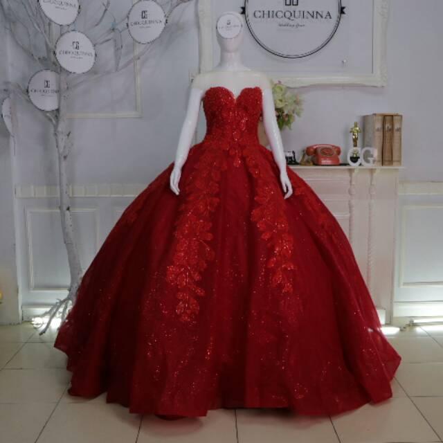 Gaun pengantin silver baju pengantim ekor mewah wedding gown bunga murah wedding dress import | Shopee