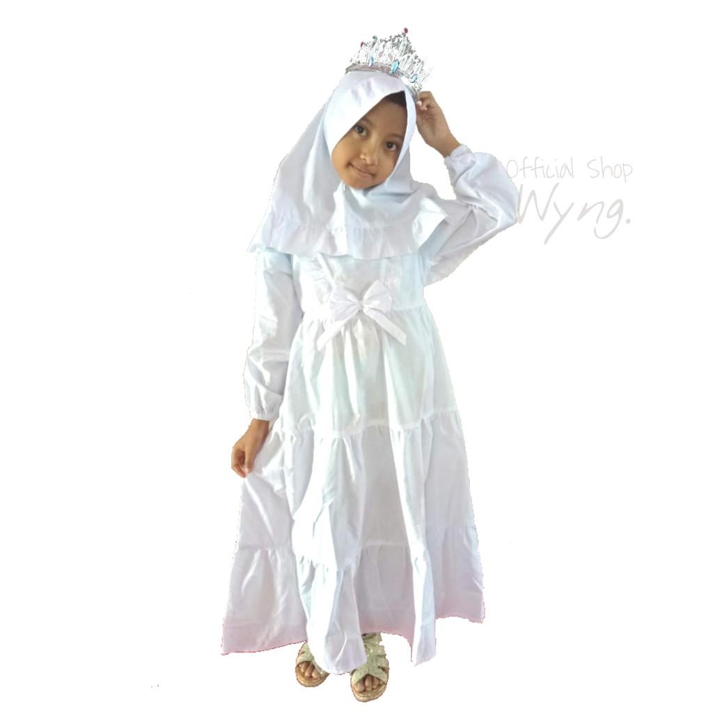 Gamis Manasik Monita 8 8 8 8 8 8 8 Tahun Katun Batita Anak Sekolah Putih  Bersih