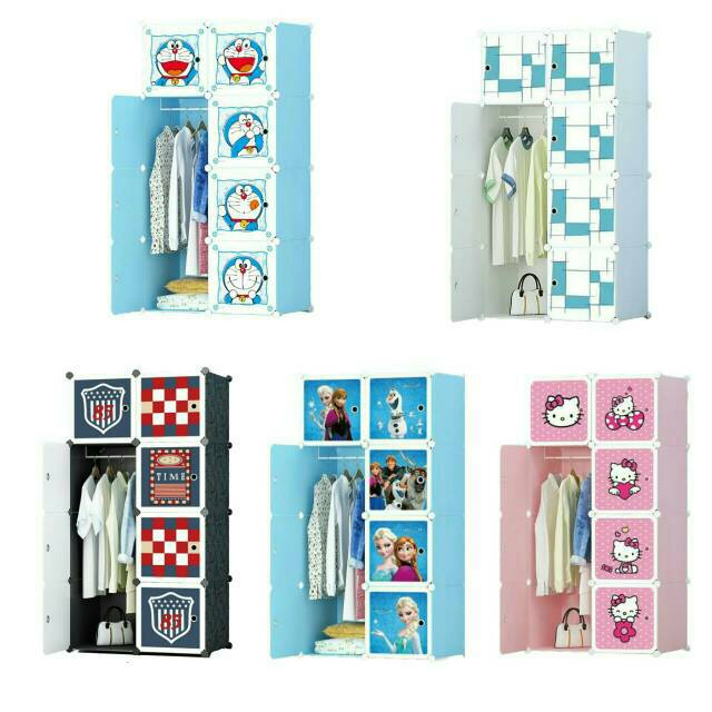 Lemari plastik pp, lemari rak pakaian, lemari karakter, wardrobe anak | Shopee Indonesia