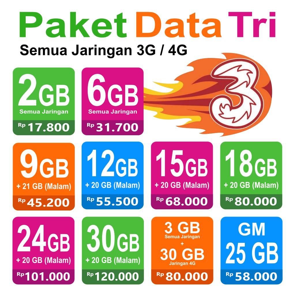 Paket Data Tri Kuota Internet Murah Three Always On Aon Get More Gm 3 66gb 33gb Cinta 50 70 Gb Shopee Indonesia