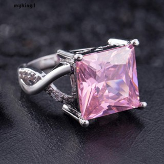 [Amy] Cincin Lapis Silver Model Slim dengan Berlian Imitasi Warna Pink / Putih untuk