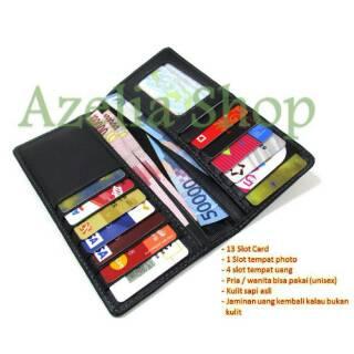 Dompet kulit panjang pria wanita banyak kartu asli murah hitam polos premium  garut 5f908e8b4d