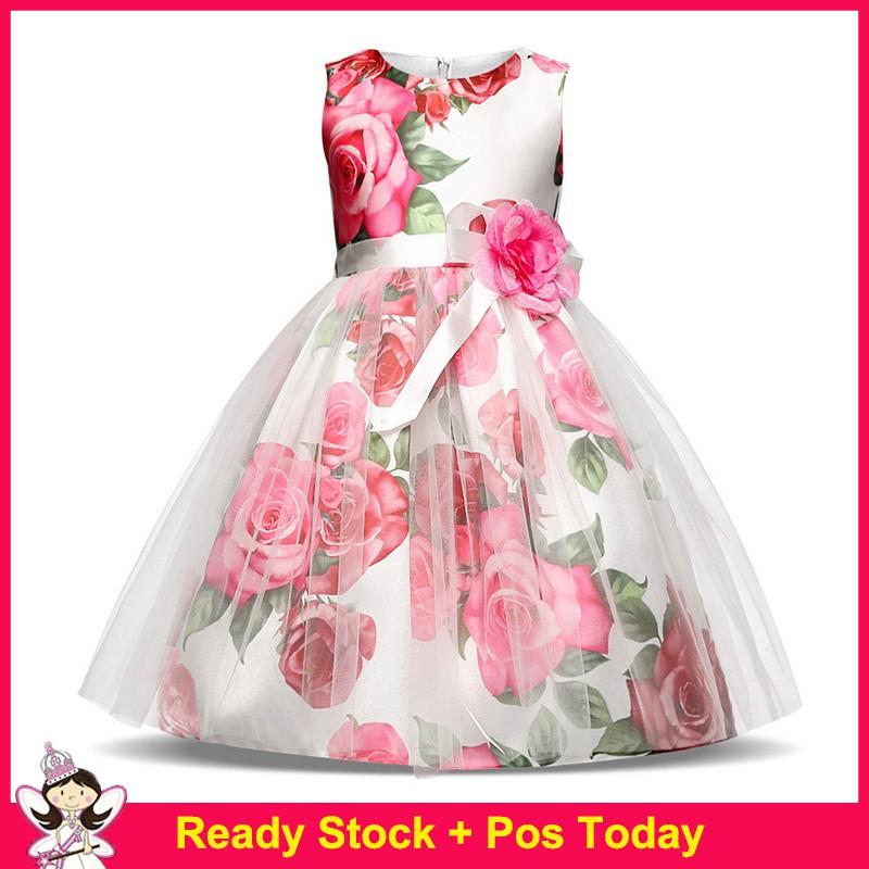 Kids Baby Flower Lace Girls Party Dress Wedding Bridesmaid Dresses Princess New