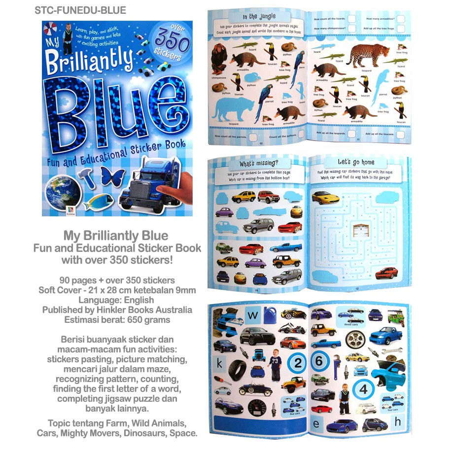 My brilliantly blue fun and educational sticker book with over 350 stickers shopee indonesia