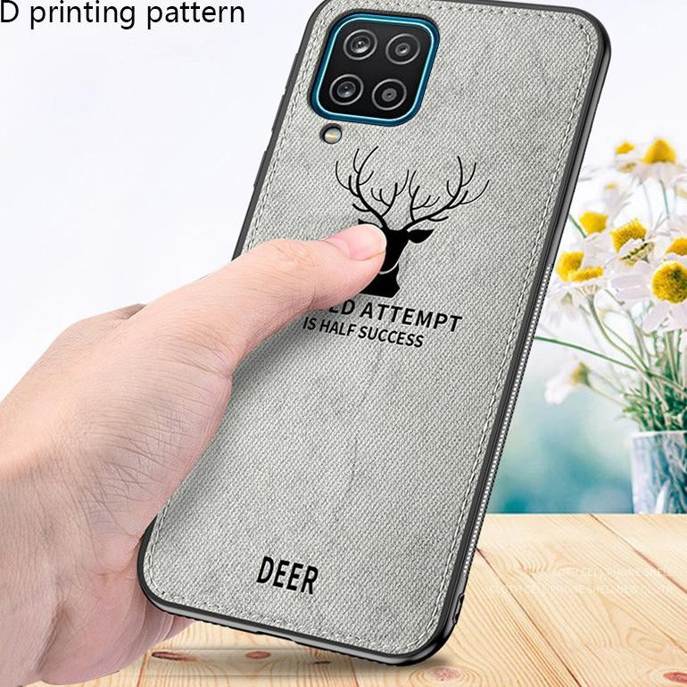 ✾ Case Samsung A12 Cloth Leather Deer Case Premium Softcase Casing HSN