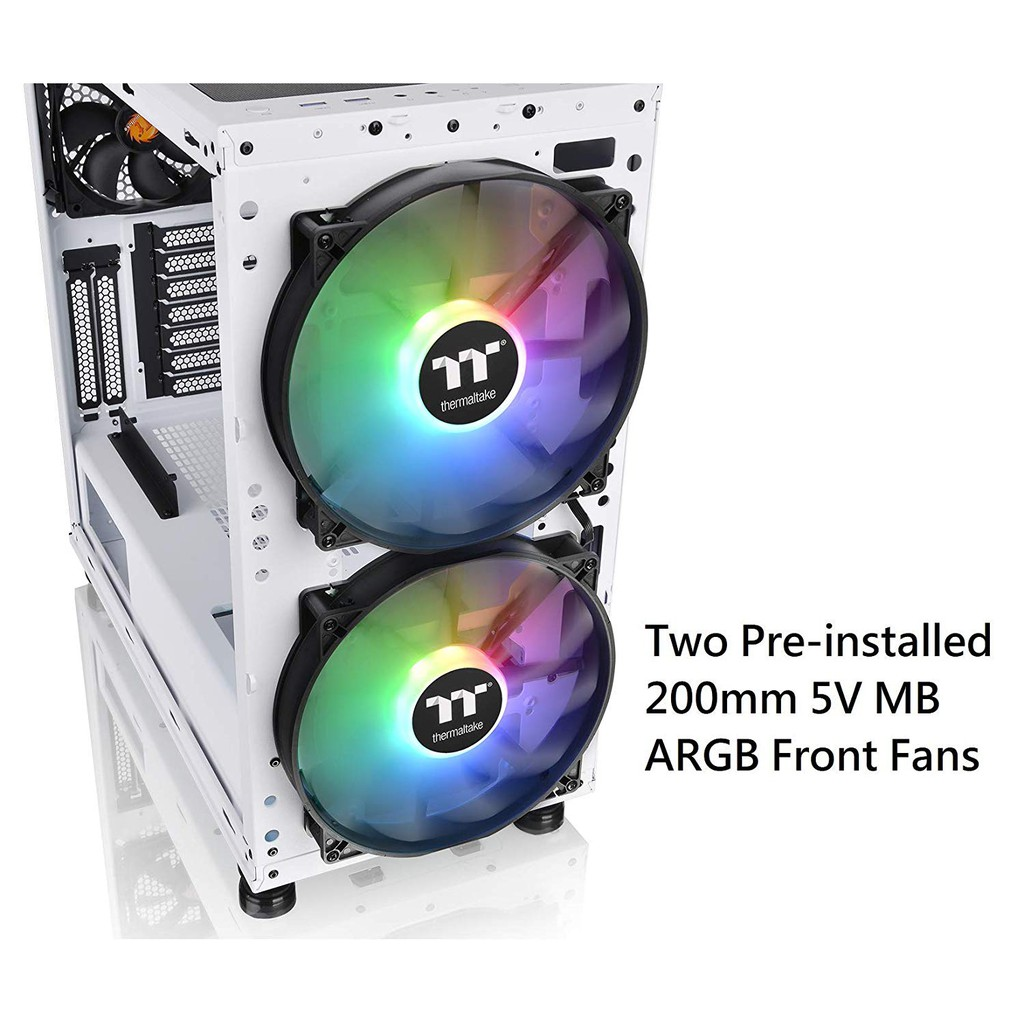 Thermaltake Commander C 31 TG Snow ARGB Edition//Dual 200MM ARGB Fans//Tempered Glass//ATX Mid-Tower Chassis