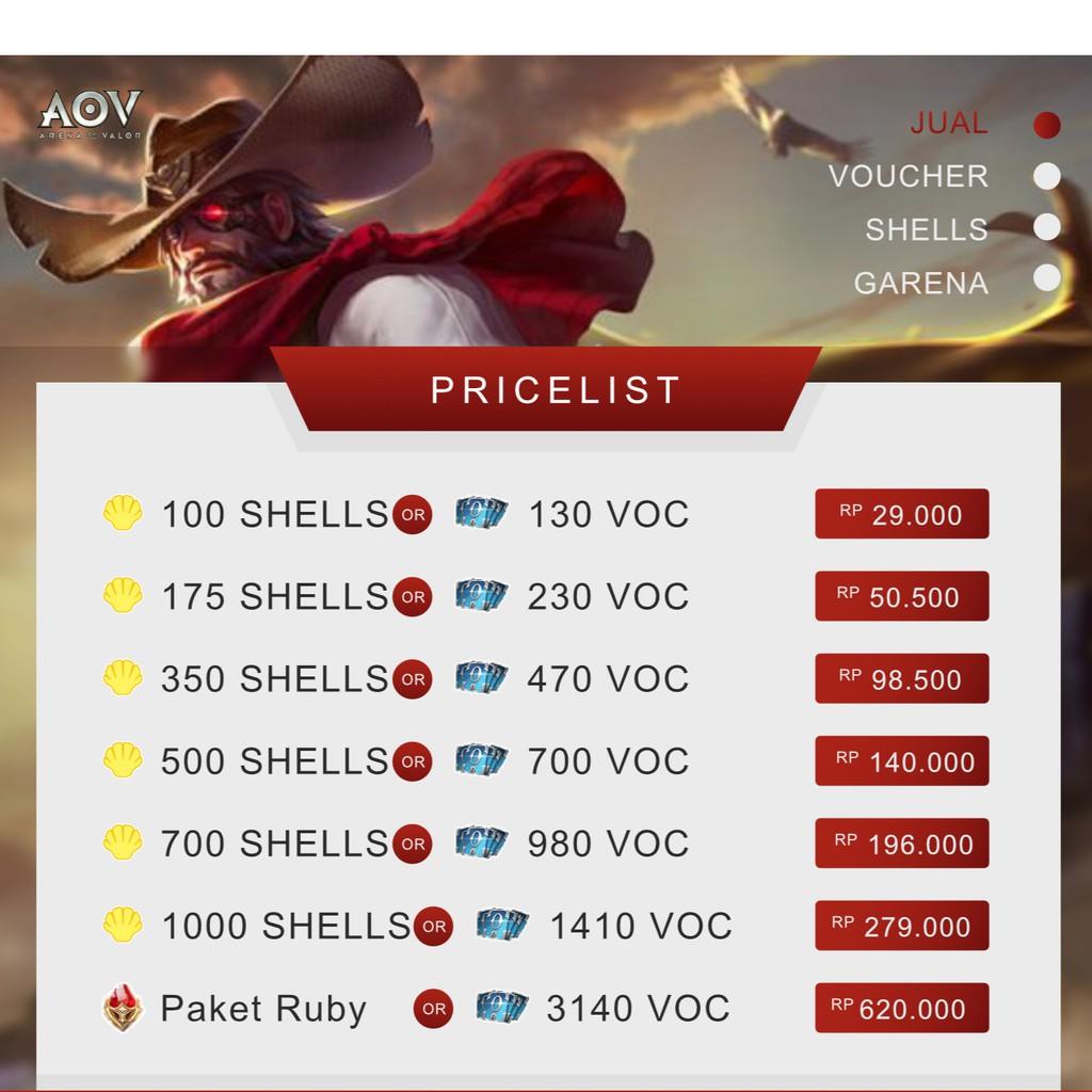 Voucher Garena 100 s/d 700 Shell, AOV, FreeFire, Point Blank, Contra, 700  Voucher, 500 Shell