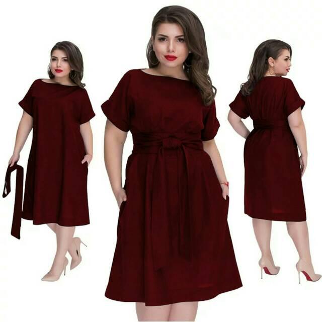 Dress Jumbo Big Size Wanita Xxl Polos