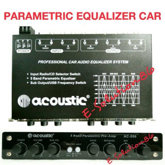Parametric Equalizer Mobil Acoustic Preamp Bass Treble Control Parametrik Mobil Shopee Indonesia