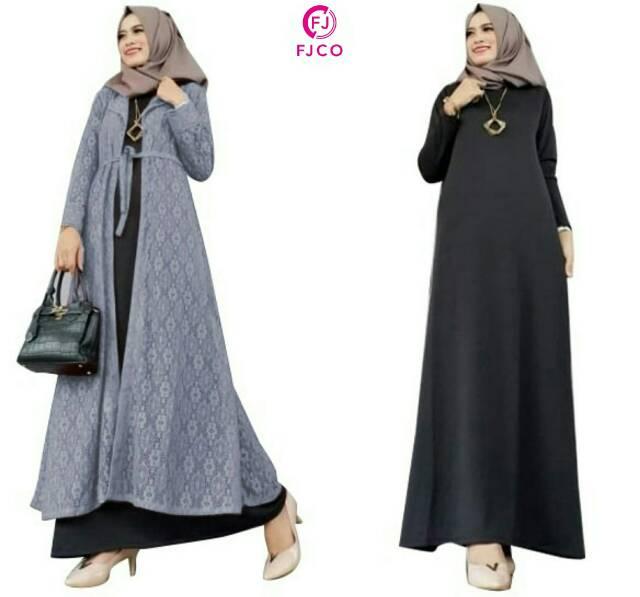 2in1 Maxi Dan Outer Brukat Dress Brokat Gamis Staylist Maxi Long Dress Trendi Baju Muslim Shopee Indonesia