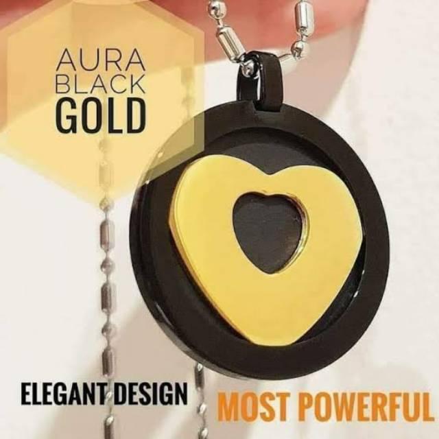 KALUNG KESEHATAN PENDANT AURA HEART BLACK GOLD ORIGINAL BY MCI TERMURAH
