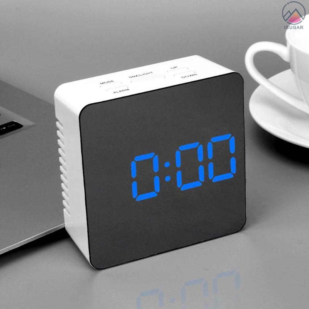 Multifunctional Plastic Mirror Led Night Light Thermometer Digital Wall Clock Lamp Alarm Clock Shopee Indonesia