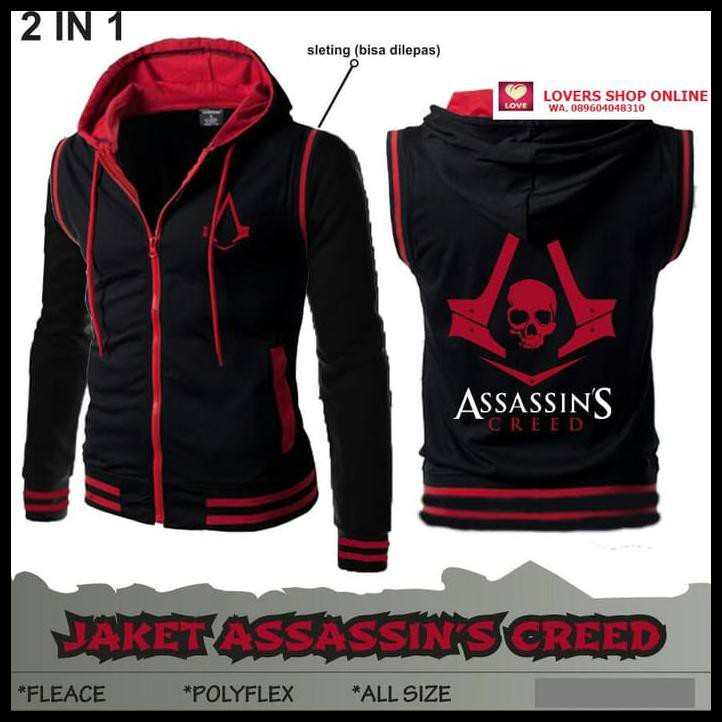 Promo Assassin S Creed Rompi Vest Hoodie Jaket Ninja Anime Game
