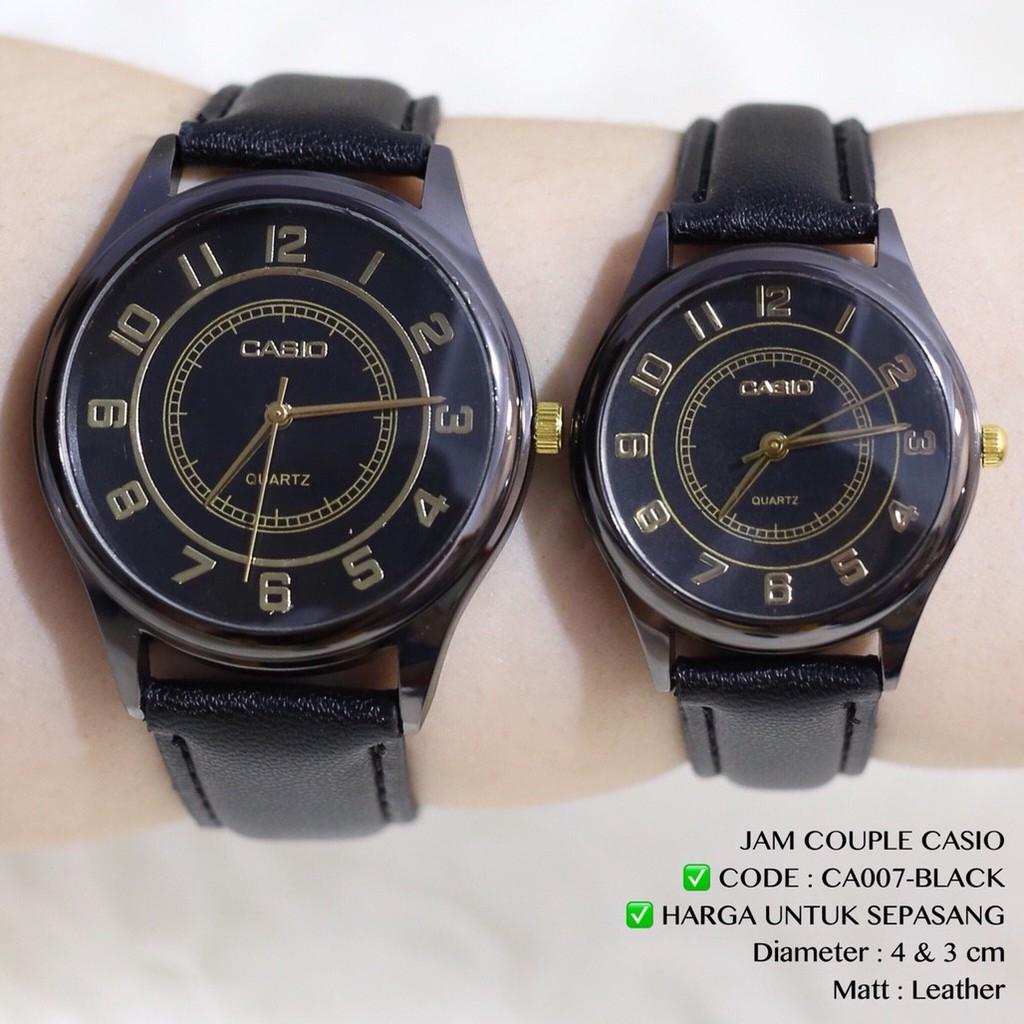Jam tangan Couple CASIO tali kulit harga sudah sepasang free baterai  cadangan flash sale murah CA007  83276e892e