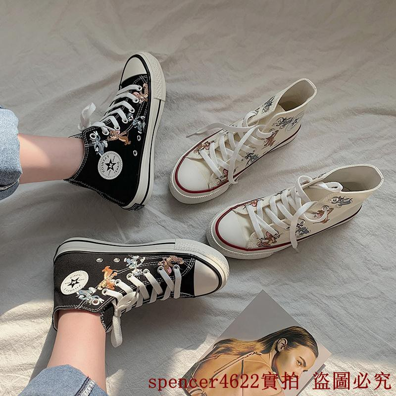 Zara Sepatu Sneakers High Top Flat Platform Kanvas Motif Mickey