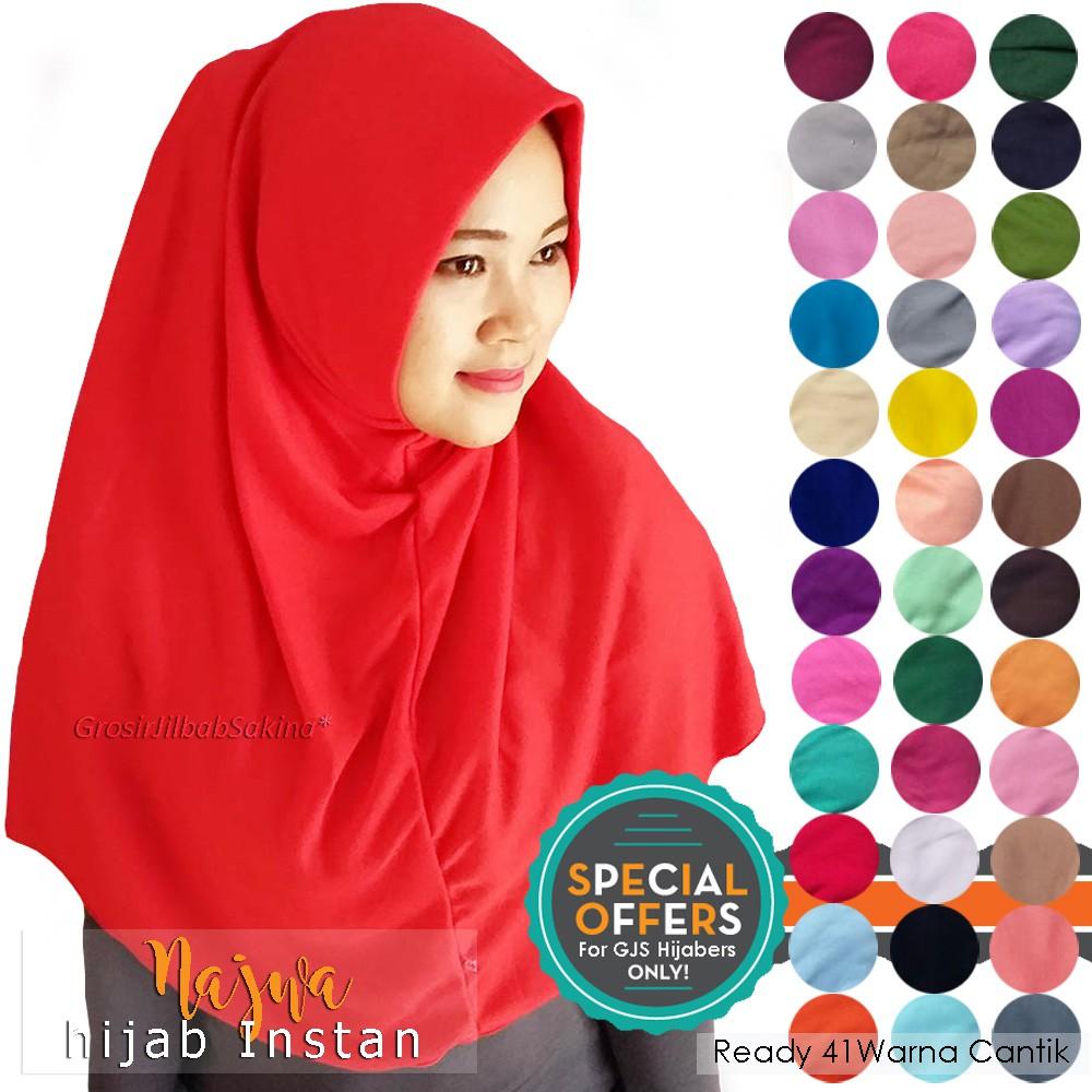 Jilbab Instan Najwa Hijab Khimar Mini Simple Kaos Katun Tc Premium Biru Termurah Shopee Indonesia
