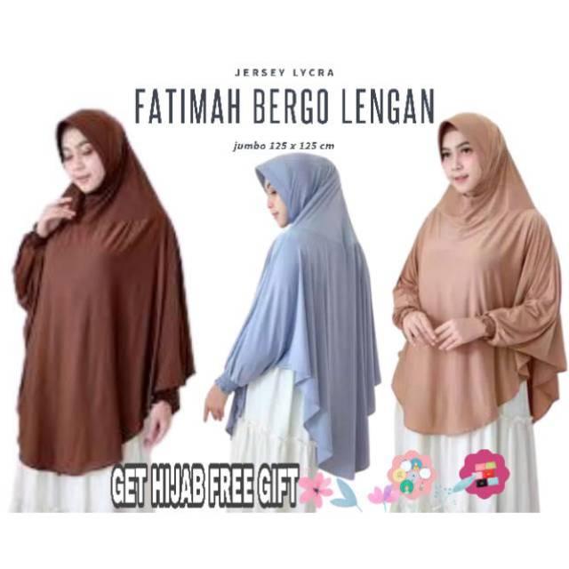 Aya Fashions Hijab Bergo Lengan Jumbo Jersey Jilbab Instan Tangan Fatimah Shopee Indonesia