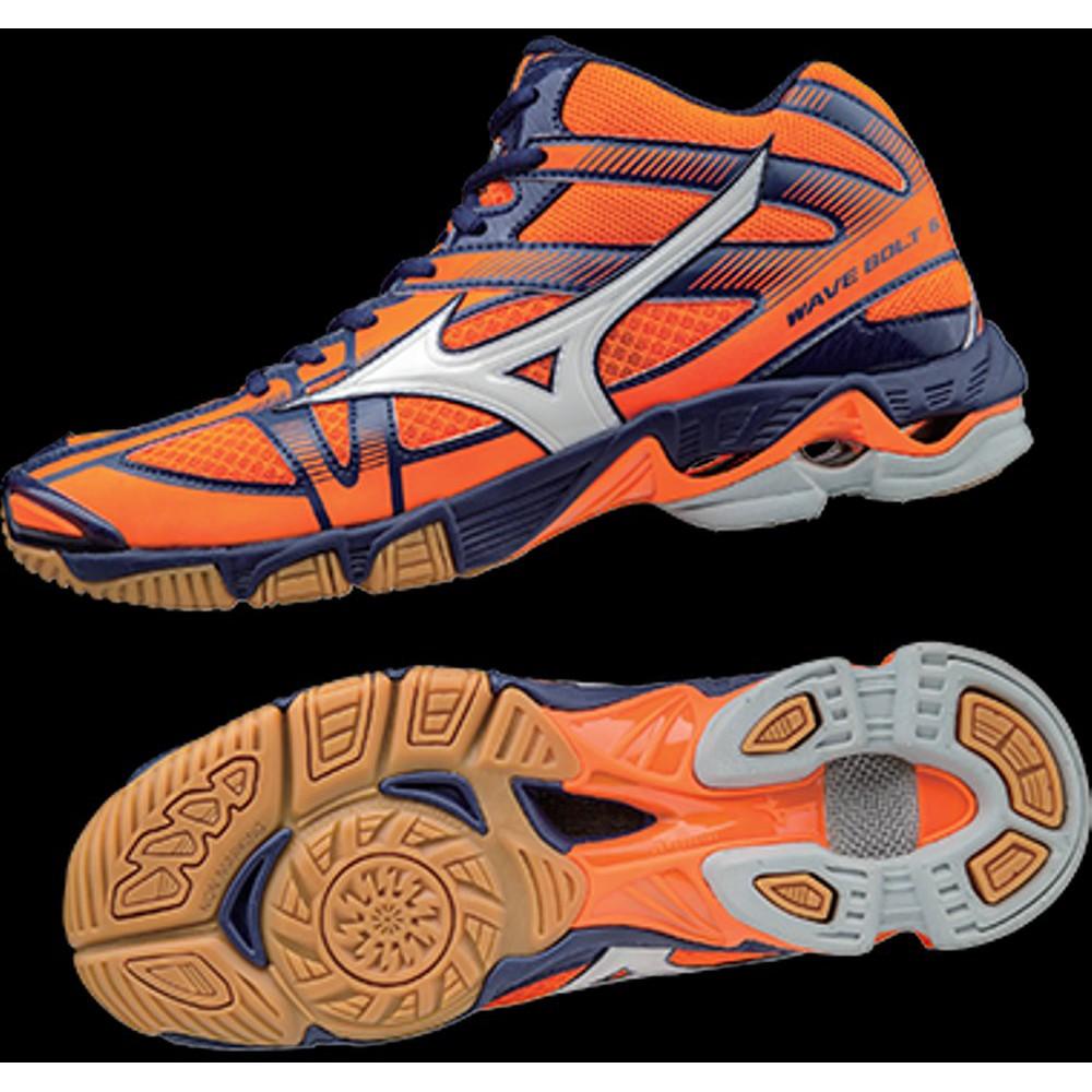 Sepatu Mizuno BAdminton Voli V1GA176502 WAVE BOLT 6 MID ORANGE CLOWN FISH  WHITE BLUE DEPTHS  5effb98e3f