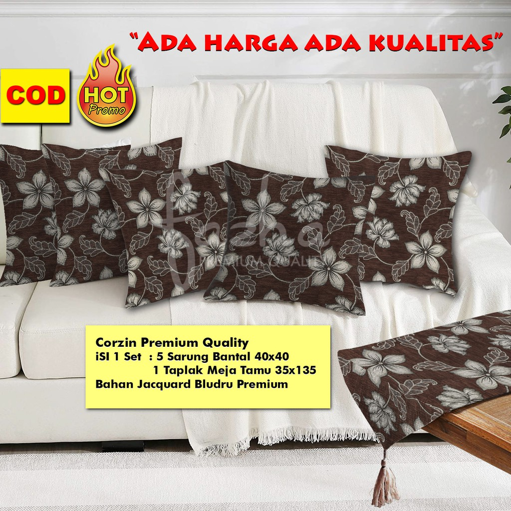 Sarung Bantal Sofa Kursi Tamu Minimalis Modern Premium Mewah Set Taplak Motif Bunga Coklat 40x40 Shopee Indonesia Bantal kursi tamu minimalis
