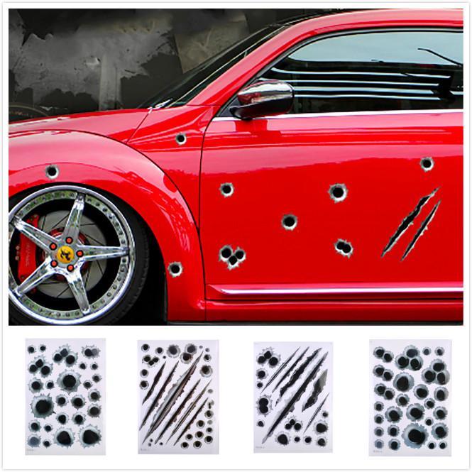 Easy to Stick Blue External Decoration Stciker Cute Pitbull Bulldog Pattern Reflective Waterproof Car Sticker Decal DIY Decor Car Decoration