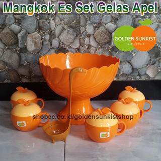 Mangkok Es Buah Set Gelas Apel Golden Sunkist Dengan Sendok Angsa