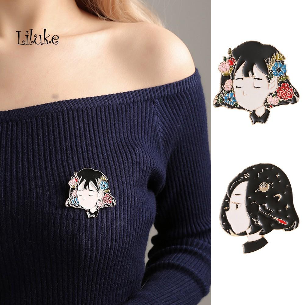 【LK】Bros Pin Dada Desain Gadis Kartun Jepang Cantik Lucu Imut Bahan Enamel Colorful Untuk Wanita