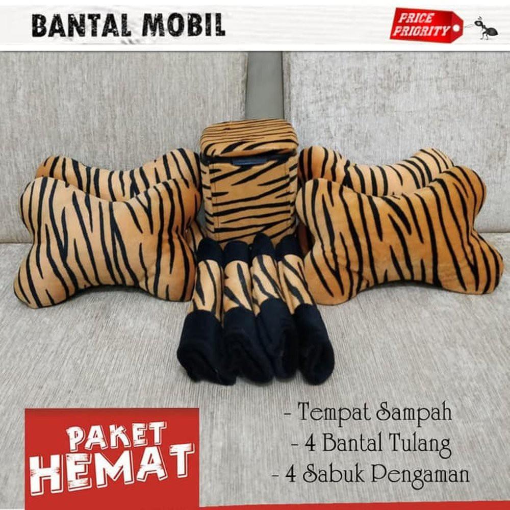 BANTAL MOBIL LORENG PUTIH / TEMPAT SAMPAH ZEBRA / AKSESORIS MOBIL ZEBRA PAKET HEMAT | Shopee Indonesia