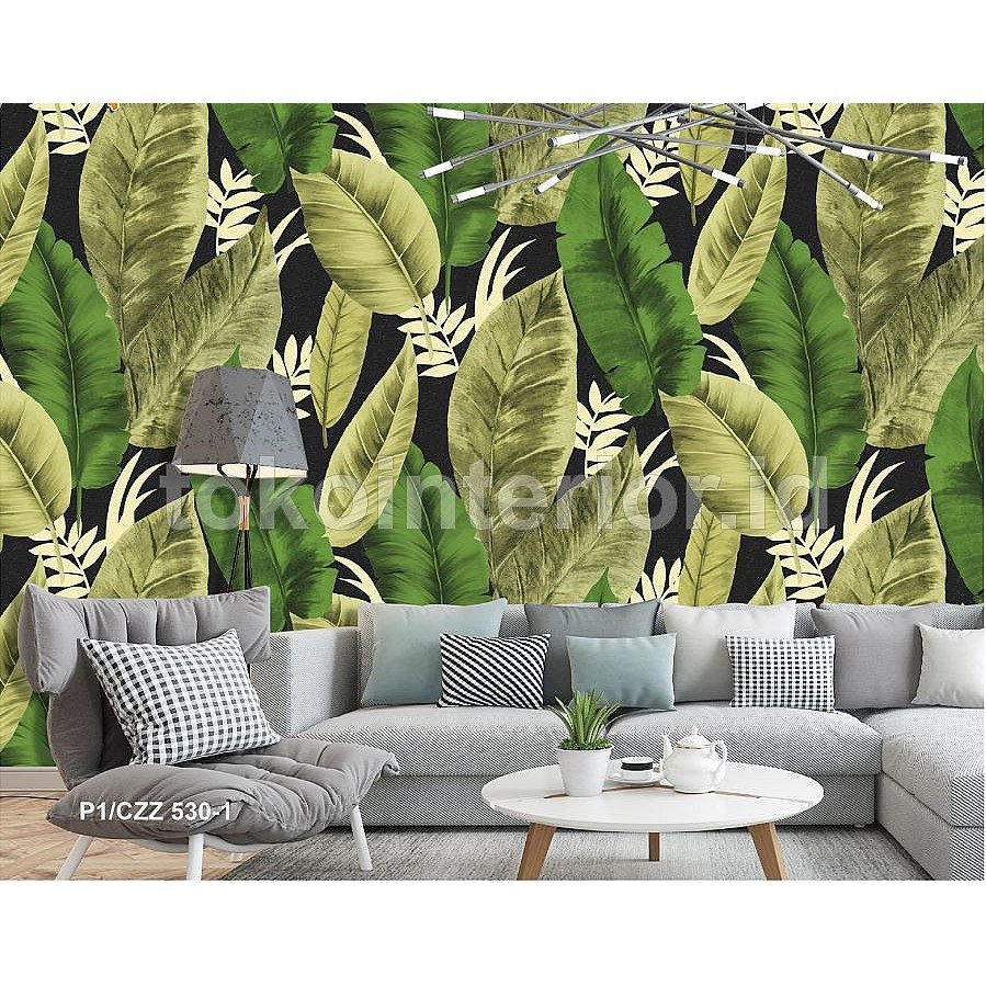Wallpaper Dinding Motif Daun Besar Warna Hijau Segar Sejuk CH