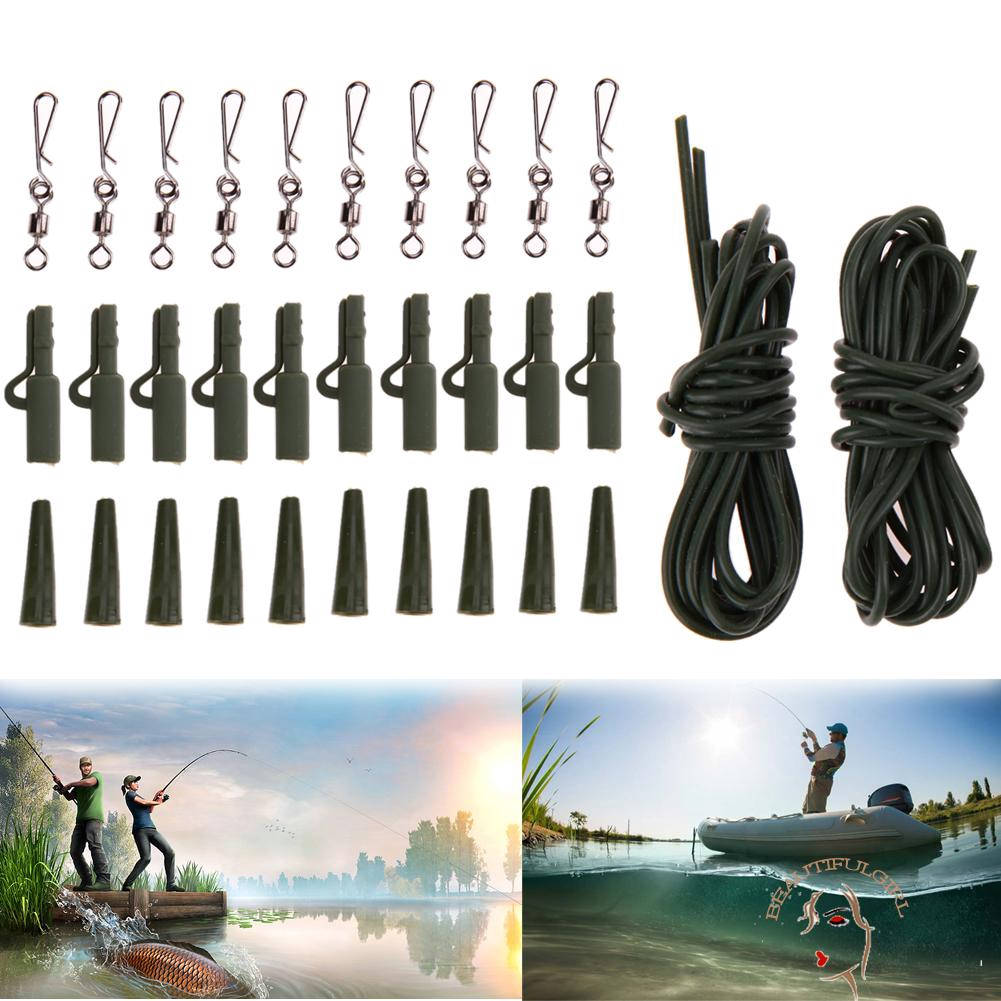 32pc Carp Fishing Tackle weight lead clips Quick link swivels rig tube Hair Rigs