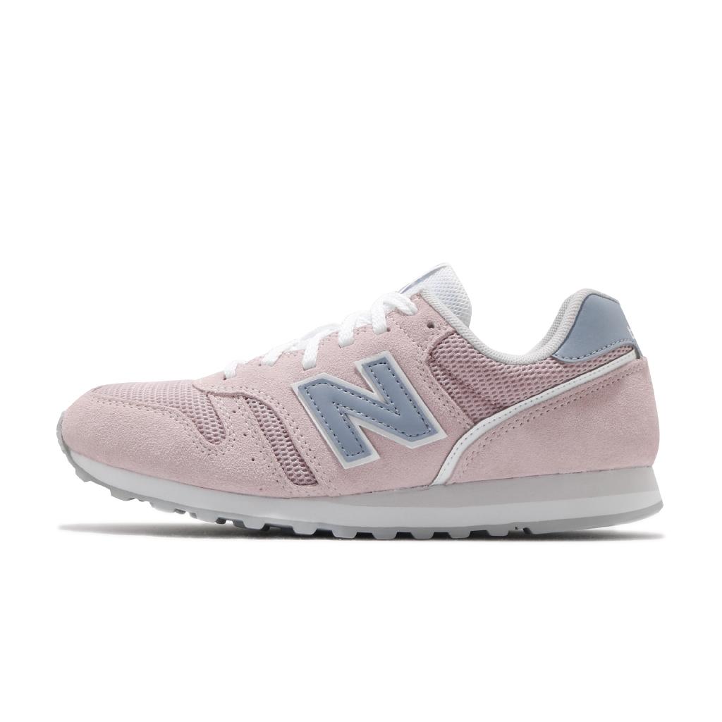 New Balance 373 Sepatu Sneakers Retro Casual Bahan Suede Warna Pink / Biru Untuk Lari