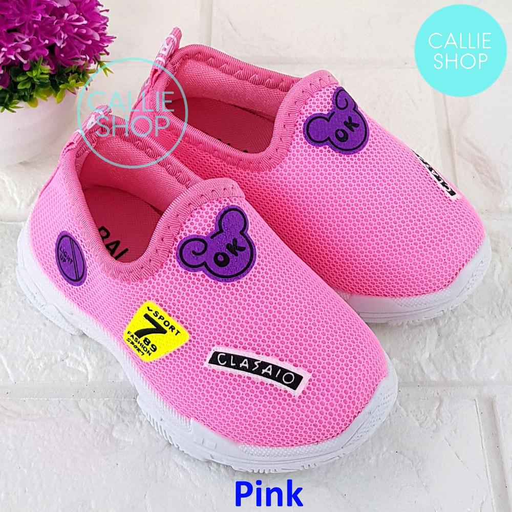 Sepatu Slip On Anak Cewek Sporty Fashion Import Sol Karet Usia 1 2