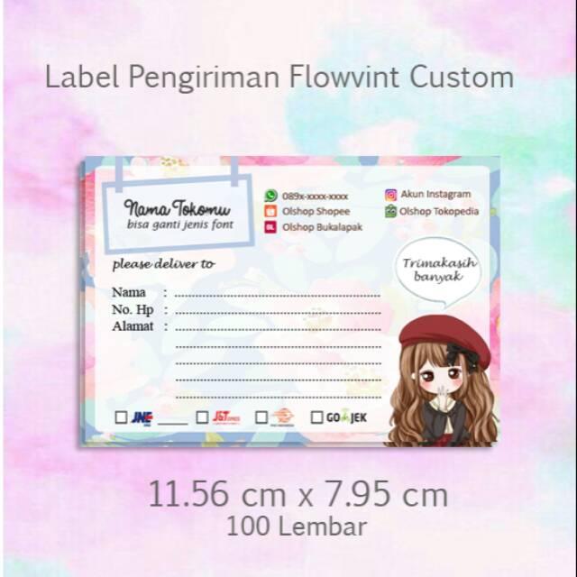Label Pengiriman Online Shop Flowvint Custom Murah Kertas Pengiriman Paket Shopee Indonesia