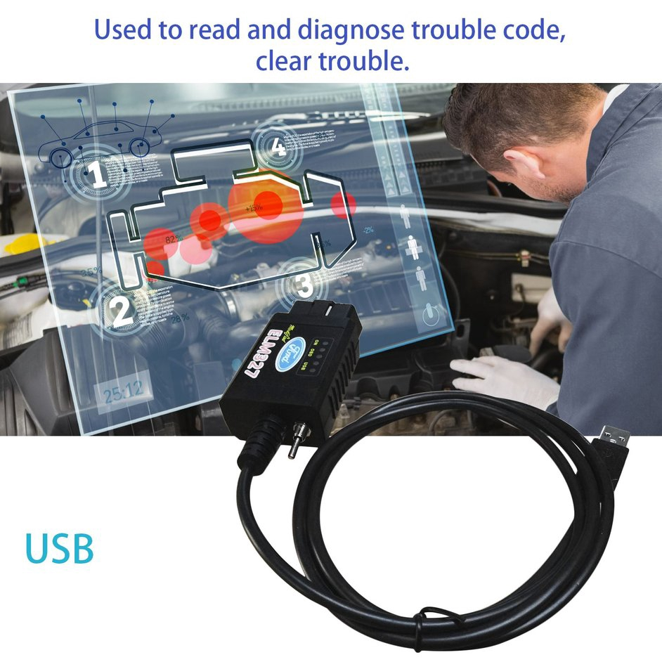 USB Modified ELM327 Scanner for Ford Compatible Interface with MS-CAN HS-CAN Switch for Mazda Forscan OBD2 Diagnostic Tool