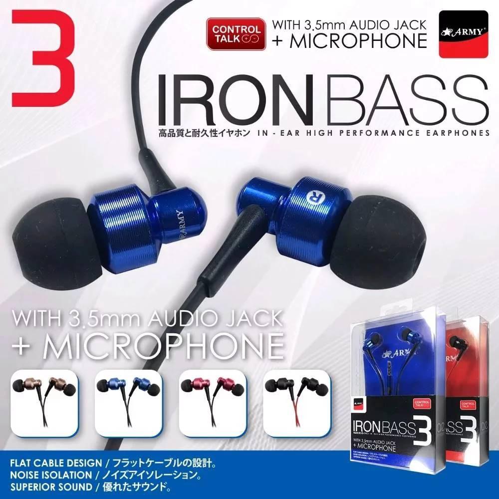 Headset Army Natural Bass Shopee Indonesia Handsfree Earphone Iron 2 Biru