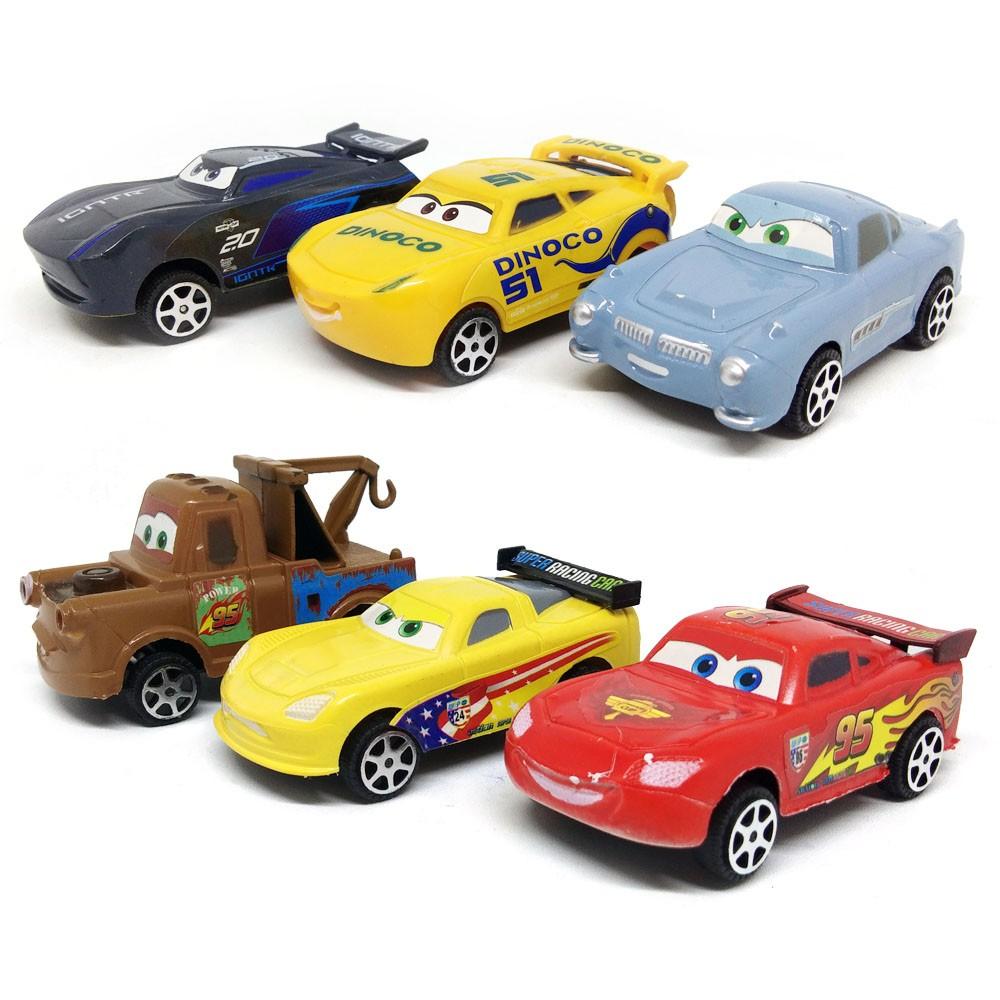 mainan anak mobil mobilan isi 6 lightning mcqueen cars