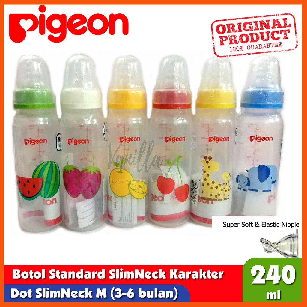 PIGEON Botol Slimneck Standard MM Dot Ulir PP Slim Neck Nursing Bottle 240ml 1pc