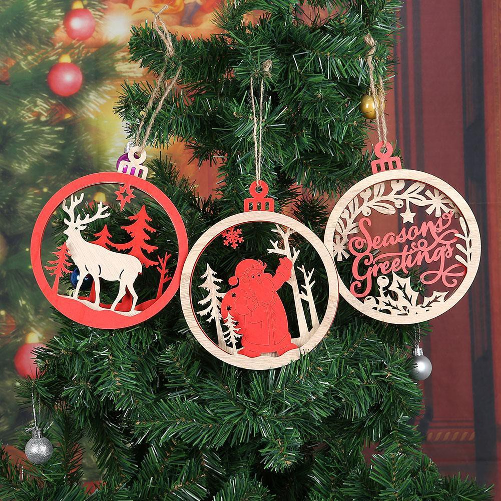 Creative 3d Wooden Tree Christmas Large Pendants Hanging Xmas Party Decorations Ornaments Home Shopee Indonesia