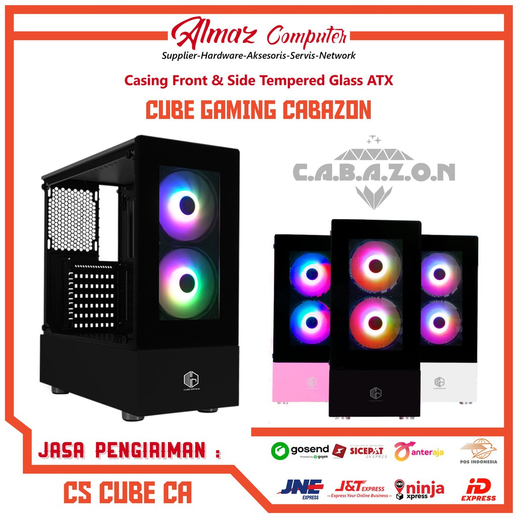 Cube Gaming Cabazon Atx Tempered Glass Incl 2x Rgb Rainbow Fans Gaming Casing Shopee Indonesia