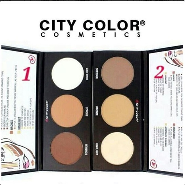 City COLOR Contour Effects ONE 1 / TWO 2 Powder Palette Contour Blush Highlight Natural | Shopee Indonesia
