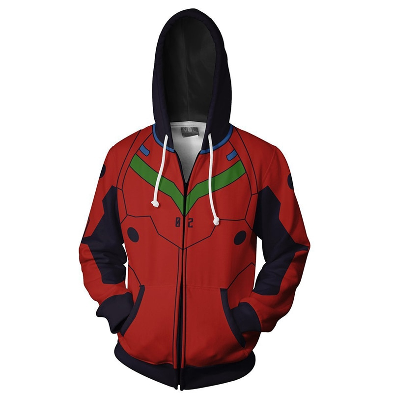 Evangelion EVA Neon Genesis Hoodie Pullover Jacket Coat Black Hooded