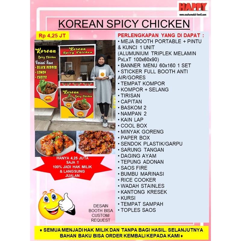 PAKET USAHA FRANCHISE MAKANAN VIRAL KOREAN CRISPY CHICKEN SPICY AYAMKOREA GEROBAK PORTABLE KEMITRAAN