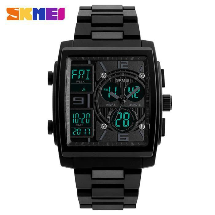 Jam Tangan Pria Unik Dual Time Anti Air SKMEI 1274 Original - BLACK