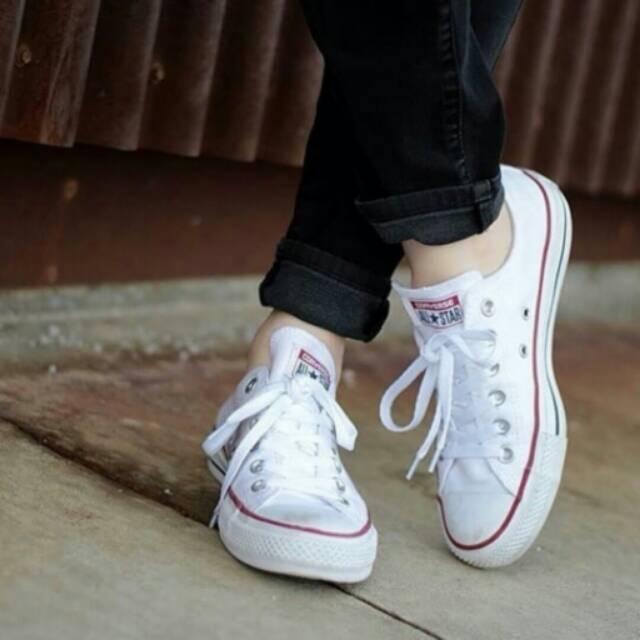 Sepatu Converse Low Putih Garis Merah Shopee Indonesia