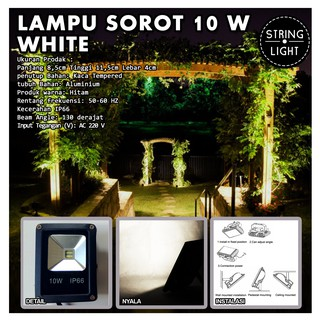 MURAH LED SOROT OTDOOR IP66 PUTIH 10W Flood Light Lampu tembak taman wedding party