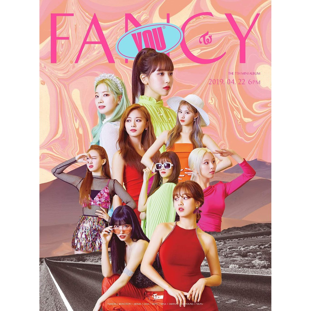 CD+Photobook+5Photocards+Sticker+Pre-Order Benefit+Folded Poster+Double Side Extra Photocards Set 7th Mini Album Twice Fancy You C ver.